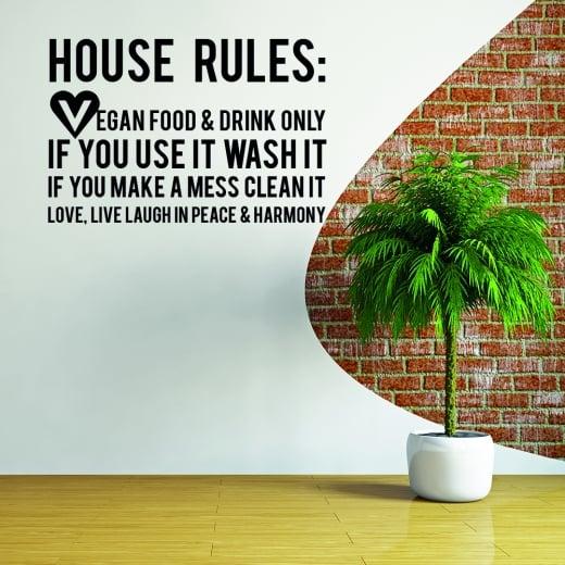 Wall Chimp Vegan House Rules Wall Sticker