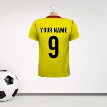 Watford Style Football Shirt Wall Sticker With Your Name & Number - Custom Design