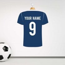 West Brom Blue & White Football Shirt Wall Sticker With Your Name & Number - Custom Design