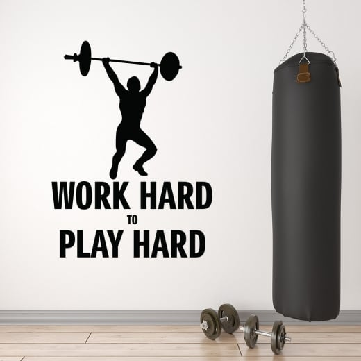 Wall Chimp Work Hard To Play Hard Motivational Wall Sticker Quote