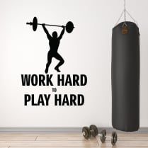 Work Hard To Play Hard Motivational Wall Sticker Quote
