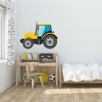 Yellow Tractor Printed Wall Sticker