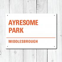 Ayresome Park, Middlesbrough Metal Sign