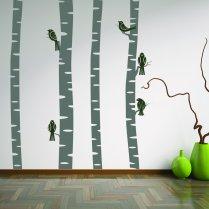 Birch Trees With Birds Wall Sticker