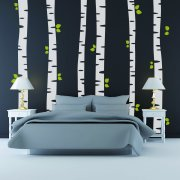 Birch Trees With Leaves Wall Sticker