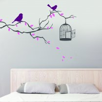 Bird on Branch With Cage Wall Sticker