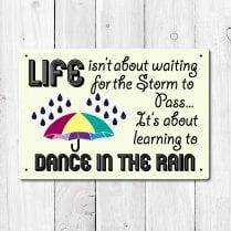 Dancing In The Rain Metal Sign