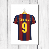 Personalised Blue & Garnet Football Shirt Metal Sign With Your Name & Number