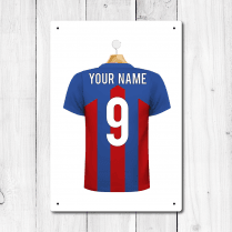 Personalised Blue & Red Football Shirt Metal Sign With Your Name & Number