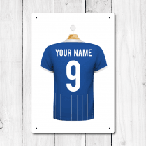Personalised Blue & White Football Shirt Metal Sign With Your Name & Number
