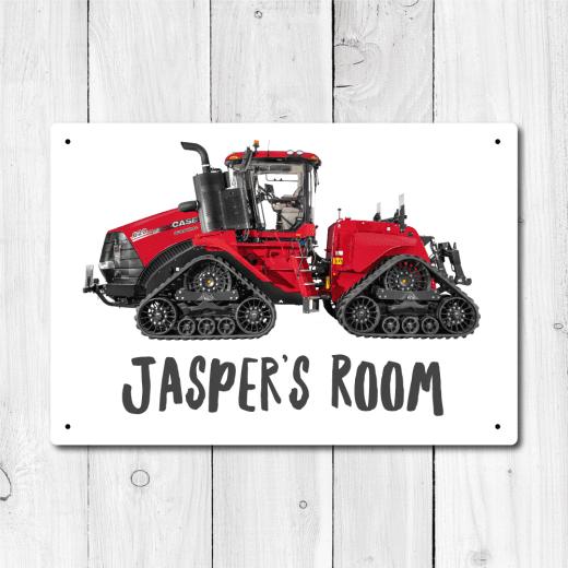 WallChimp Personalised CASE QUADTRAC Tractor Metal Door Sign