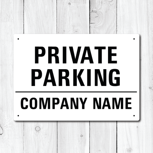 WallChimp Personalised Company Name 'Private Parking' Metal Sign