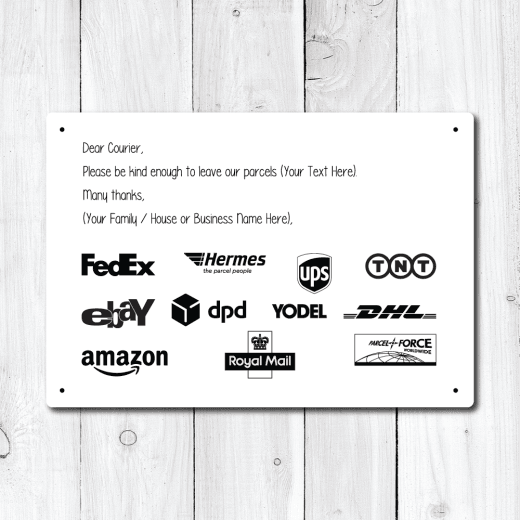 WallChimp Personalised Courier Message Metal Sign