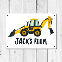 Personalised Digger Metal Door Sign