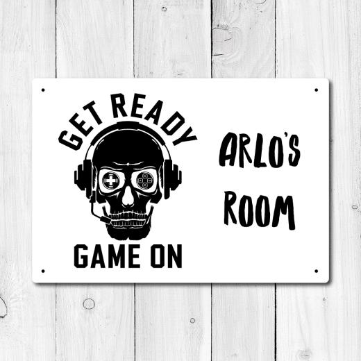 WallChimp Personalised Gamer Metal Door Sign