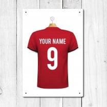 Personalised Red & Black Football Shirt Metal Sign With Your Name & Number