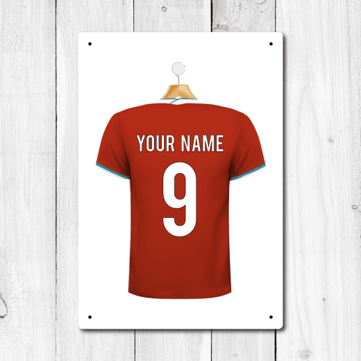 WallChimp Personalised Red & Teal Trim Football Shirt Metal Sign With Your Name & Number
