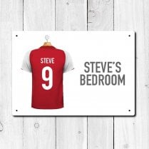 Personalised Red & White Football Shirt Bedroom Metal Sign