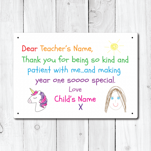 WallChimp Personalised Thank You Teacher From Girl Metal Sign