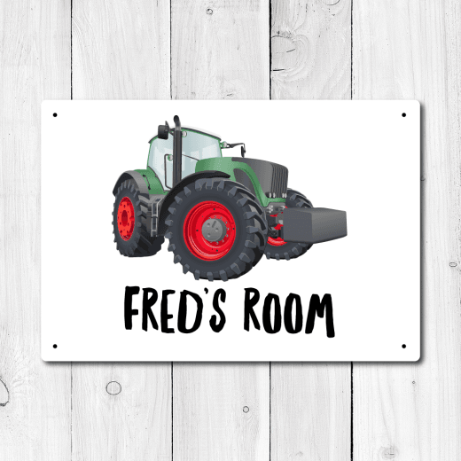 WallChimp Personalised Tractor Metal Door Sign