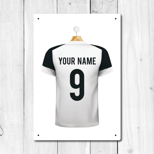WallChimp Personalised White & Black Football Shirt Metal Sign With Your Name & Number