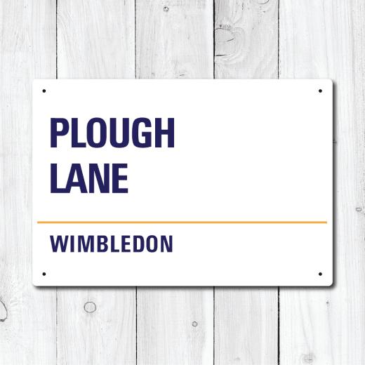 WallChimp Plough Lane, Wimbledon Metal Sign