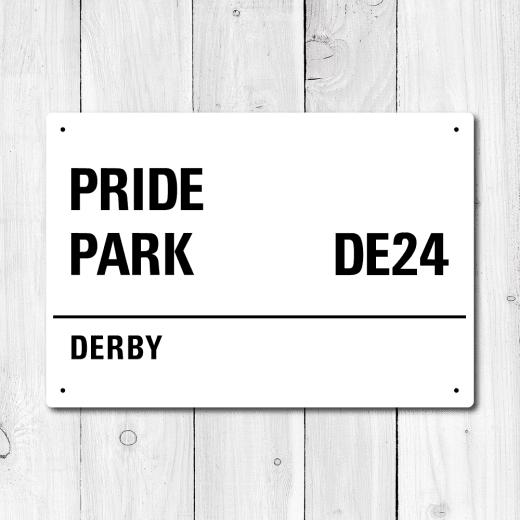 WallChimp Pride Park, Derby Metal Sign