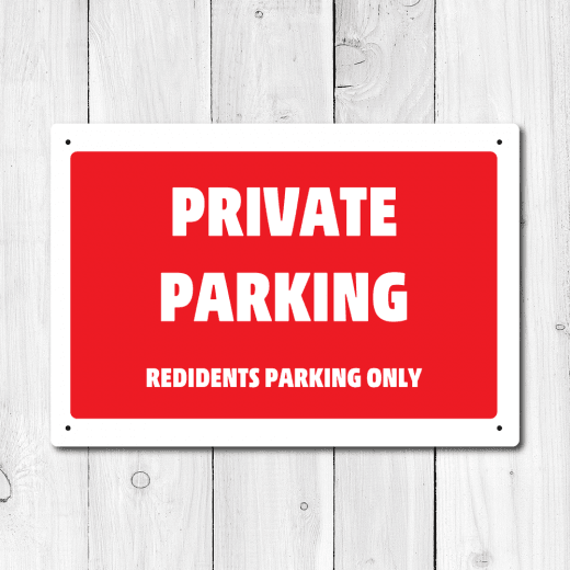 WallChimp Private Parking Only Metal Sign
