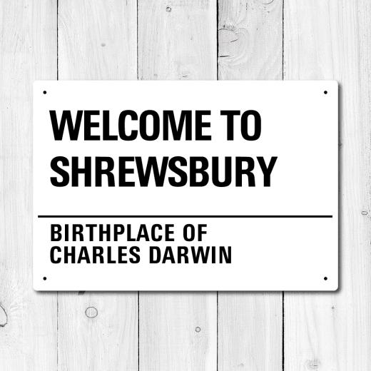 WallChimp Shrewsbury, Birthplace Of Charles Darwin Metal Sign
