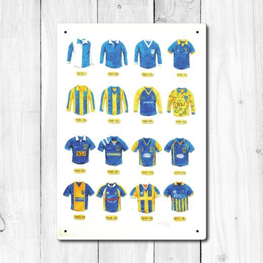 WallChimp Shrewsbury Town Football Kit Designs 1890 to 2018 Metal Sign