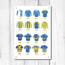 Shrewsbury Town Football Kit Designs 1890 to 2018 Metal Sign