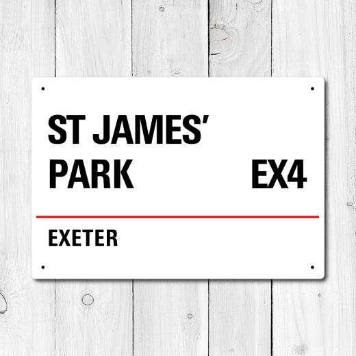 WallChimp St James' Park, Exeter Metal Sign