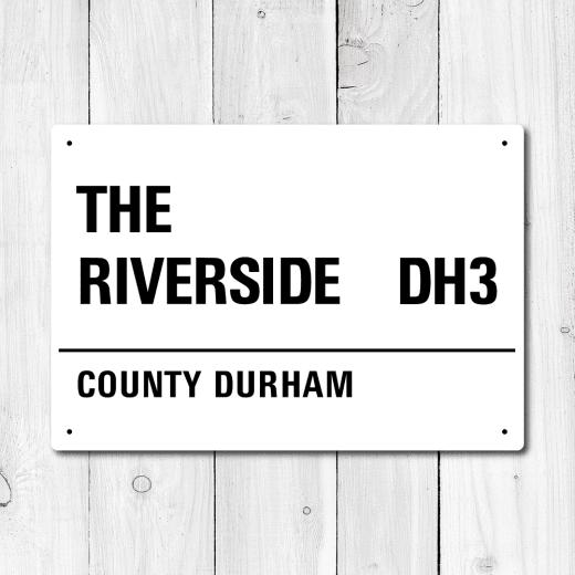 WallChimp The Riverside, County Durham Metal Sign