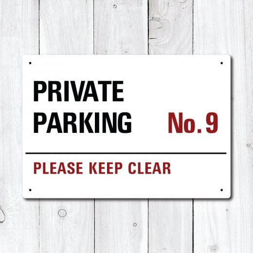 WallChimp UK Supplied Personalised Private Parking Metal Sign