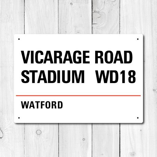 WallChimp Vicarage Road Stadium, Watford Metal Sign