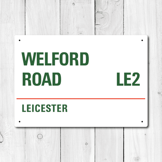 WallChimp Welford Road, Leicester Metal Sign