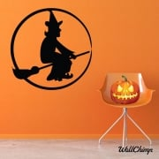Witch On A Broom Wall & Window Sticker