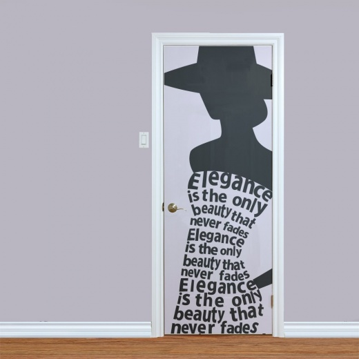 Woman's Elegance Printed Door Quote